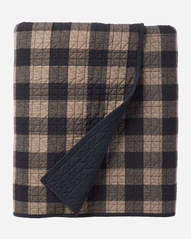 BUFFALO TRAIL PLAID COVERLET SET, BLACK/TAUPE, large
