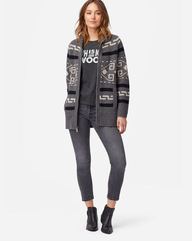 WOMEN'S LONG WESTERLEY CARDIGAN IN GREY/BLACK