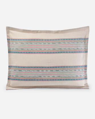 ADDITIONAL VIEW OF IKAT ESCALANTE DUVET COVER SET IN CAMEL
