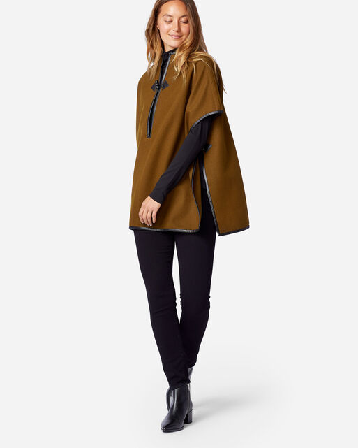 WOMEN'S LEATHER TRIM ECO-WISE WOOL CAPE IN SMOKY OLIVE