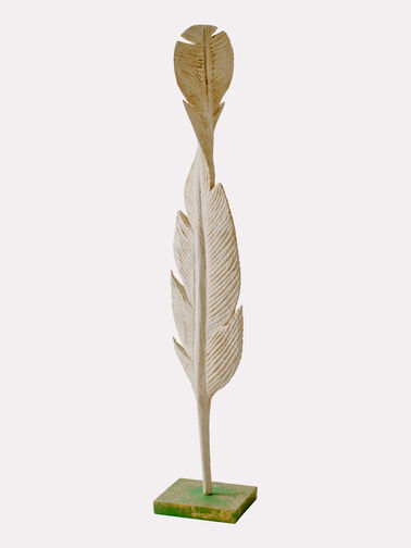 FALLING FEATHER SCULPTURE, CREAM, large