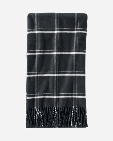5TH AVENUE WINDOWPANE MERINO THROW IN BLACK