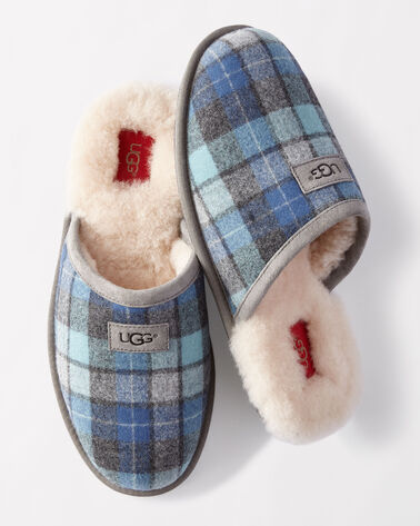SCUFF SURF PLAID SLIPPERS, BLUE SURF PLAID, large