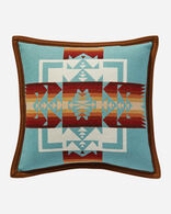 CHIEF JOSEPH PILLOW IN AQUA