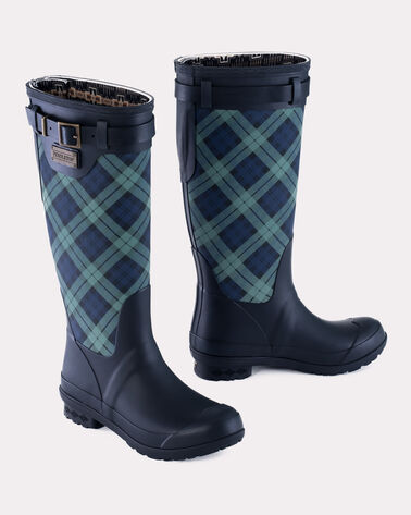 HERITAGE TARTAN TALL BOOTS, NAVY BLACK WATCH, large