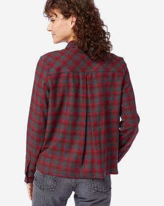 ALTERNATE VIEW OF WOMEN'S ULTRALUXE MERINO PIPER SHIRT IN RED/GREY OMBRE
