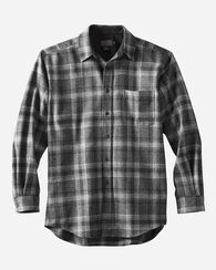 LODGE SHIRT, BLACK/GREY MIX PLAID, large