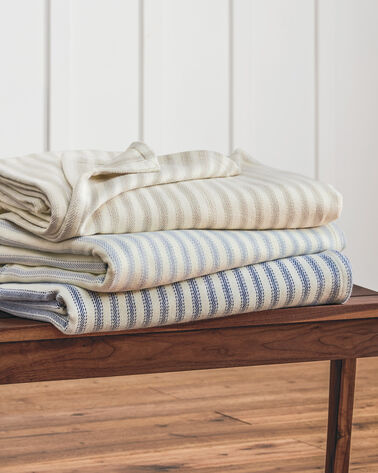 ADDITIONAL VIEW OF TICKING STRIPE BRUSHED COTTON BLANKET IN NAVY