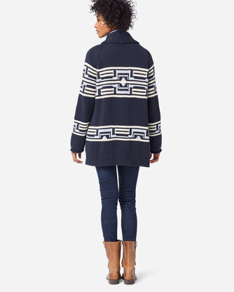ADDITIONAL VIEW OF WOMEN'S LAS CRUCES COTTON CARDIGAN IN INDIGO
