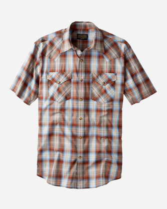 SHORT SLEEVE FRONTIER SHIRT, BROWN/BLUE PLAID, large