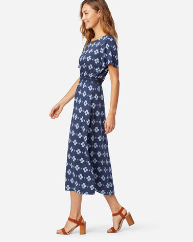 ALTERNATE VIEW OF SHORT-SLEEVE PATTERNED MIDI DRESS IN NAVY
