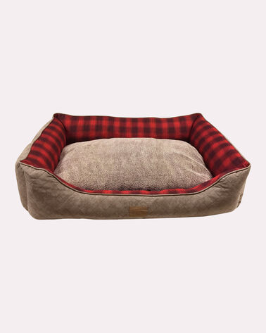 ALTERNATE VIEW OF RED OMBRE KUDDLER DOG BED IN SIZE MEDIUM