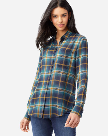 ALTERNATE VIEW OF WOMEN'S HELENA BUTTON FRONT SHIRT IN BLUE PLAID