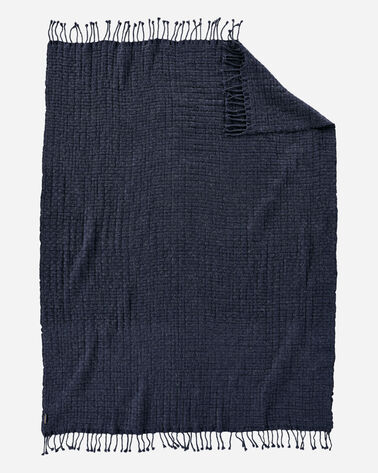 ADDITIONAL VIEW OF CESTINO WOOL/ALPACA FRINGED THROW IN NAVY MIX