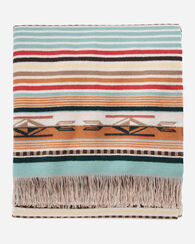 CHIMAYO THROW, CORAL/AQUA STRIPE, large