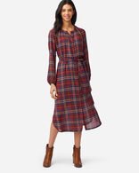 BUTTON-FRONT PLAID DRESS IN RUST PLAID