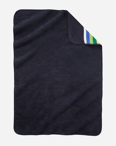 ALTERNATE VIEW OF CRATER LAKE ORGANIC COTTON BABY BLANKET IN NAVY