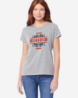 WOMEN'S JACQUARD GRAPHIC TEE IN LIGHT GREY HEATHER
