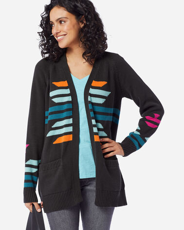 WOMEN'S CACTUS BLOOM CARDIGAN IN CHARCOAL