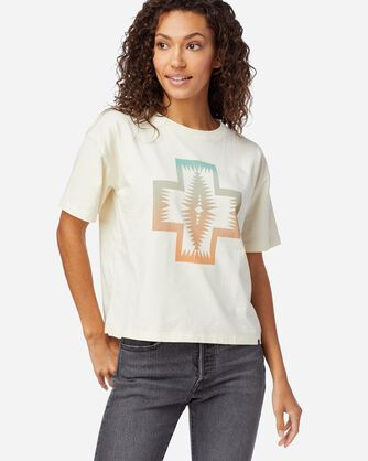 WOMEN'S CROPPED DESCHUTES GRAPHIC TEE, ANTIQUE WHITE CHIEF JOSEPH, large