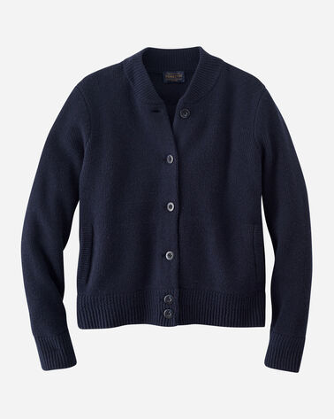 WOMEN'S LAMBSWOOL SWEATER BOMBER IN NAVY