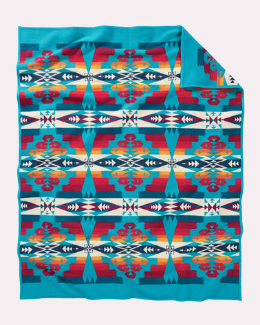 ADDITIONAL VIEW OF TUCSON BLANKET IN TURQUOISE