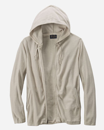 ADDITIONAL VIEW OF PIMA COTTON FULL ZIP HOODIE IN OATMEAL