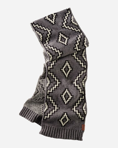 JACQUARD SCARF IN KIVA STEPS CHARCOAL
