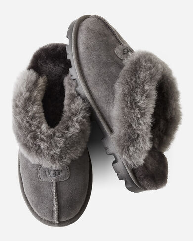 COQUETTE SHEEPSKIN-LINED SCUFF SLIPPERS, GREY, large