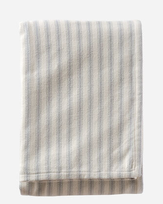 TICKING STRIPE BRUSHED COTTON BLANKET IN GREY