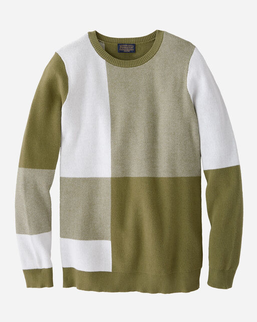 WOMEN'S BOX PLAID SWEATER IN OLIVE/WHITE