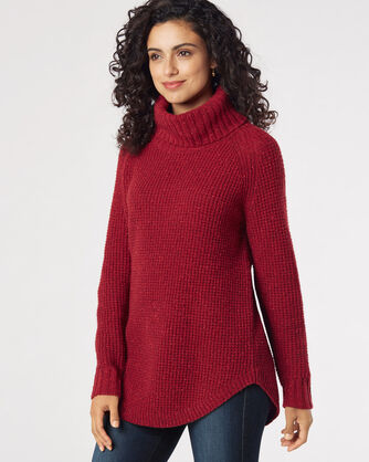 DONEGAL COWL NECK SWEATER, RED ROCK, large