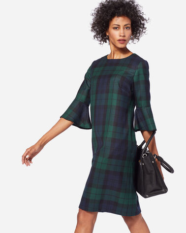 MAYA WOOL DRESS IN BLACK WATCH TARTAN
