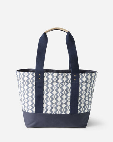 ALTERNATE VIEW OF ZIGZAG RIVER CANOPY CANVAS TOTE IN WHITE
