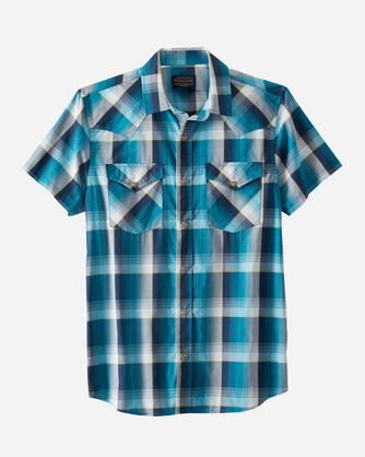 MEN'S SHORT-SLEEVE FRONTIER SHIRT IN TURQUOISE/NAVY PLAID
