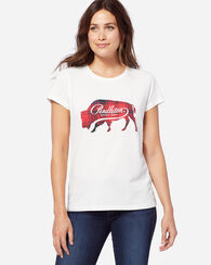 PLAID BUFFALO GRAPHIC TEE, ANTIQUE WHITE, large