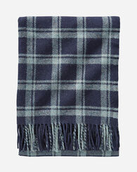 ECO-WISE WOOL FRINGED THROW, NAVY/SHALE, large