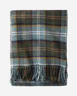 ECO-WISE WOOL FRINGED THROW IN SHALE PLAID
