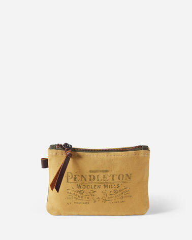 COTTON CANVAS ZIP POUCH IN TAN