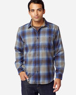 MEN'S ELBOW-PATCH TRAIL SHIRT IN TAUPE/BROWN/BLUE OMBRE