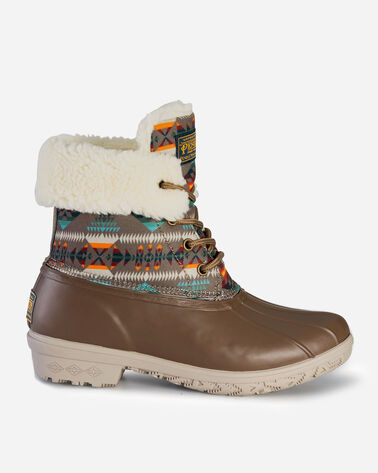 WOMENS BASKET MAKER ROLL TOP DUCK BOOTS IN CAFE