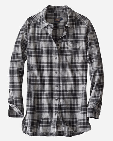 ULTRALUXE MERINO ONE POCKET TUNIC IN GREY/BLACK PLAID