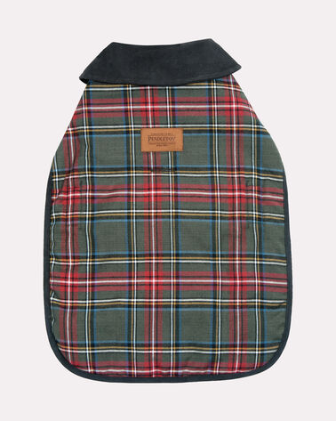 SMALL PLAID DOG COAT, GREY STEWART, large
