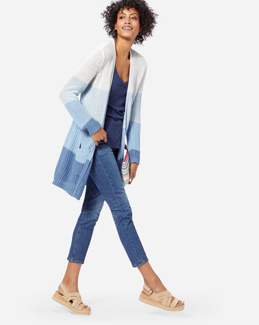 WOMEN'S OMBRE LONG CARDIGAN, BLUE/IVORY, large