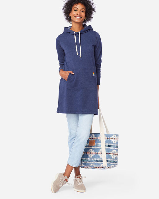 HOODED LOUNGE DRESS IN NAVY HEATHER