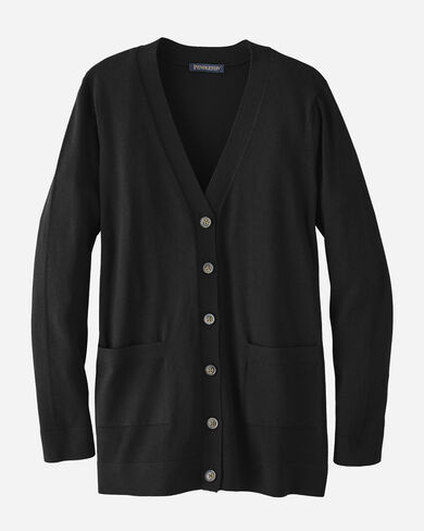 WOMEN'S COLBY V-NECK CARDIGAN, BLACK, large