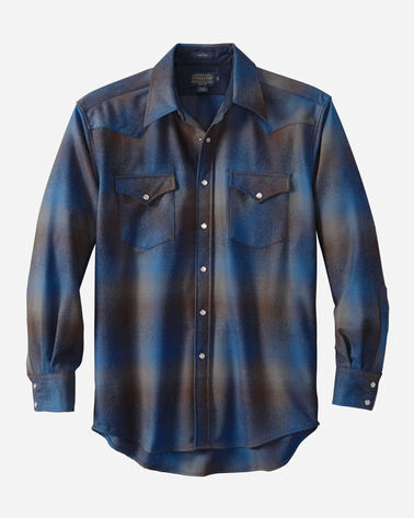 MEN'S SNAP-FRONT WESTERN CANYON SHIRT IN COBALT/BROWN OMBRE
