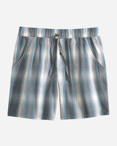 MEN'S SLEEP SHORTS, FROST GREY PLAID, large
