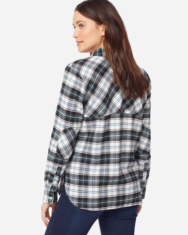 DOUBLE-BRUSHED FLANNEL ELBOW PATCH SHIRT, IVORY/GREEN PLAID, large