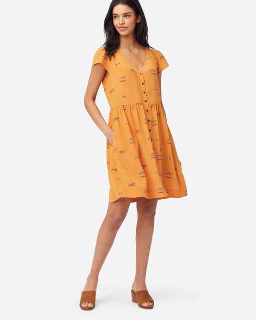 SIERRA RIDGE BUTTON-FRONT SILK DRESS